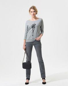 Tee-shirt gris à imprimé Pixies T-Shirts - Eva Herzigova 1-2-3.fr
