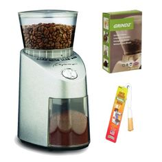 Capresso 565 Infinity Stainless Steel Conical Burr Grinder + Coffee Grinder Dusting Brush + 3-pack 35G Grindz Coffee Grinder Cleaner Capresso http://www.amazon.com/dp/B009430FHW/ref=cm_sw_r_pi_dp_3Qvlub018YG8Y *** Apparently isn't the greatest for dark roast/oily beans w/desire for a fine grind.  Since I don't use dark roast beans, this may work for me.