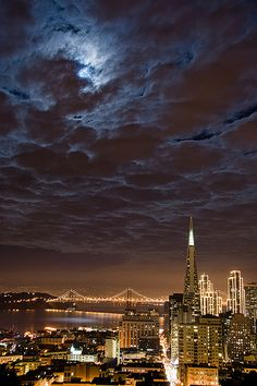San Francisco under a full moon