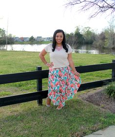 beige lace top with mint and coral chiffon arrow maxi, modest outfit idea