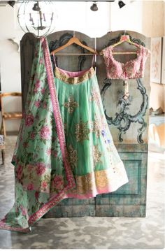 Anushree Reddy Mint Green Lehenga Choli $1,500