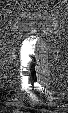 Using mostly black and white to create his pieces, American artist Michael Halbert produces incredibly detailed scratchboard illustrations with an engraved woodcut look. Secret Garden Book, Garden Tattoos, Scratchboard Art, Different Types Of Wood, Garden Drawing, Children's Book Illustration, Gravure, Book Art, Drawings