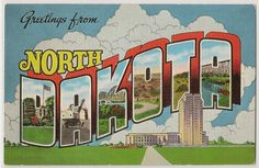 This vintage linen postcard, circulated in 1941, shows various scenes and landmarks in North Dakota. The back of the postcard has the key to each letter: D--Roosevelt Cabin on Capitol Grounds, Bismarck / A--Strip Coal Mining, Western North Dakota / K--Liberty Memorial Bridge, Missouri River / O--Scenic Badlands, Western North Dakota / T--Typical North Dakota Harvest Scene / A--Mile Long Bridge over Sheyenne River