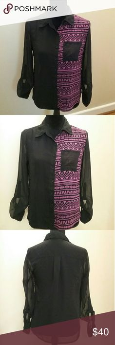 Ali & kris Black Pink Button Down Blouse Size S Bust 18in Length 22in Ali & Kris Tops Blouses