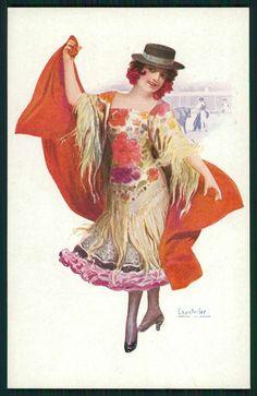 art Chantecler Spanish Lady Torera Bullfight Flamenco Dance old cc1910s postcard