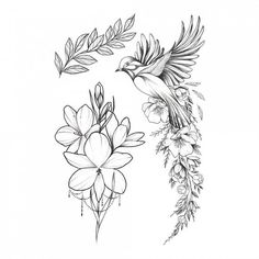 Party Tattoo, Temporary Tattoos, Party Favor, Fake Tattoo, F.- Bird of Happiness Temporary Tattoo / Back flash tattoo / Waving wings / Leaves and dots forearm jewe - Bird And Flower Tattoo, Bird Tattoo Back, Black Bird Tattoo, Back Tattoos, Flower Tattoo Designs, Forearm Tattoos, Sleeve Tattoos, Tattoo Flowers, Flower Bird