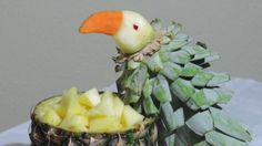 HOW TO MAKE A PARROT WITH PINEAPPLE - J.Pereira Art Carving Fruits and v...
