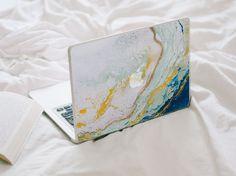Glitter Agate MacBook Decal Blue Yellow Mint by LaurenbyDesign