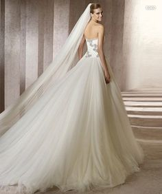 images of wedding gowns & veils | ballgown strapless tulle cathedral train wedding dress with a long ...