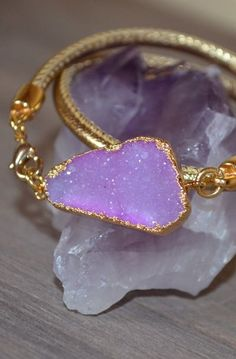 Pink and Gold druzy double wrap bracelet sparkling gemstone OOAK