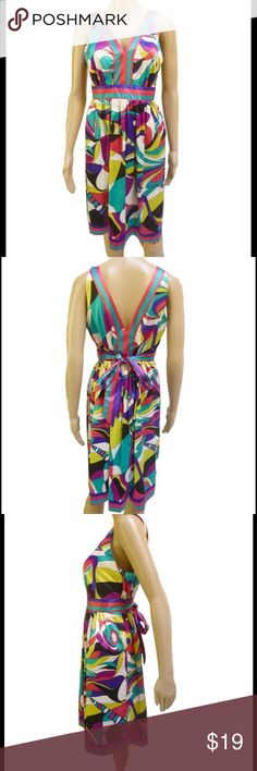 """NWT geometric dress NWT abstract silky v-neck dress.  Vibrant but not neon.  size 10 and fits true to size, but because of the waist tie, would fit sizes 6-10 best. → Color: Various  → Print: Abstract  → Size: 10  → Condition: NWT  → Shipped next day  Never worn.  Smoke free environment.  No rips or stains.  Mannequin measurements:  height - 5'8  bust - 32""""  waist - 24.5""""  hips - 32"""" less ECI Dresses"""