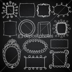 Conjunto de molduras vintage, elementos de design de vetor de lousa, desenho estilo doodle — Ilustração de Stock #47259283