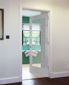 TIGNES DUAL FINISH 1-LIGHT- beautiful glazed modern door for a contemporary home. Veneer Door, Wood Veneer, Timber Door, Wooden Doors, Flush Doors, St Albans, Modern Door, White Paints, Real Wood