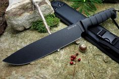 The Gen II SP50 Fixed Blade Knife from Ontario Knife Company is a large heavily built survival/camp knife. The long blade is capable of completing just about any task and comes from the factory with a razor sharp edge. The SP50 features a black powder coated 5160 steel blade and a Kraton handle for a superior grip. Included with the knife is a black nylon sheath for carry.