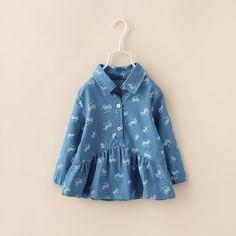 00036 TJ-6J2538 Free shipping 5 pcs/lot Wholesale Pony big skirt denim blouse for girls aged 2-6 Qunshan http://www.aliexpress.com/store/1047972