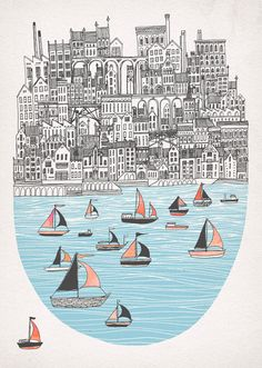 beautiful pen work, and BOATS! I love boats.    Fleck — Joppa