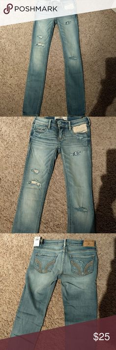 Hollister super skinny jeans with crochet details New with tags as shown in picture. Hollister light wash super skinny jeans. Destroyed with crochet details on the pocket. Size 0 regular. Waist 24. Please check out my closet for more Hollister jeans. Bundle and save! Hollister Jeans Skinny