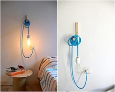 What a cute version! Textile cable lamp with switch and plug  by lacasadecoto