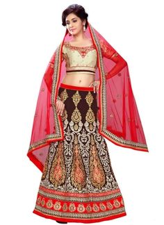 Blasting Red Brown Embroidery Work Georgette Wedding Lehenga Choli