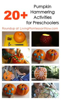 Roundup post with 20+ pumpkin hammering activities for preschoolers (and some for toddlers, too)! You'll find lots of great fall eye-hand coordination ideas and learning activities! - Living Montessori Now Montessori Activities, Learning Activities, Preschool Activities, Teaching Ideas, Preschool Learning, Therapy Activities, Outdoor Activities, Autumn Activities For Kids, Halloween Activities