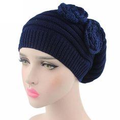 042db37166c Flower Knitted Beanie Hat. Cotton BeanieKnit Beanie HatBeaniesBeanie Hats  For WomenBoho HatHead WrapsTurbanKnitted HatsWinter Hats