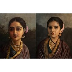Image may contain: one or more people and closeup Beautiful Gif, Beautiful Girl Indian, Beautiful Saree, Ravivarma Paintings, Portrait Photography Poses, Bride Portrait, Model Pictures, Saree Blouse Designs, Woman Painting