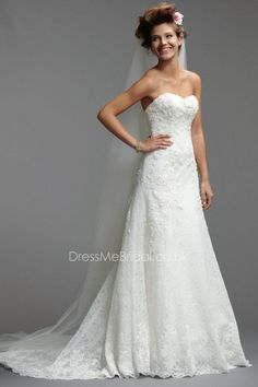 a-line floral alencon lace sweetheart chapel train wedding dress