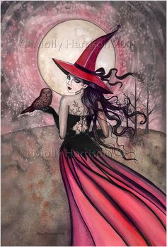 Witch Cat Autumn Fine Art Print by Molly by MollyHarrisonArt, $10.00