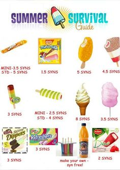 Slimming world summer survival syns Slimming World Syns List, Slimming World Syn Values, Slimming World Free, Slimming Word, Slimming World Desserts, Slimming World Recipes Syn Free, Slimming Eats, Crisps Syns, Lose Weight