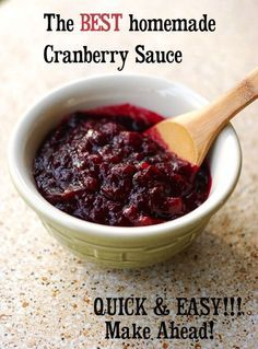 The best cranberry sauce recipe for Thanksgiving! Easy to make ahead of time! You won't believe how easy it is to make homemade cranberry sauce from fresh cranberries. This whole berry sauce will wow your guests and make Thanksgiving leftovers a real treat!