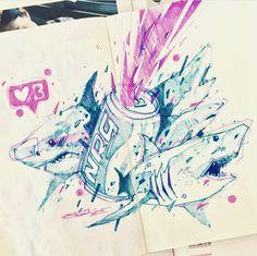 Cyberpunk Character, Sharks, Robots, Journals, Anime Art, Street Art, Sunday, Gucci, Pastel