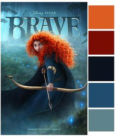Color palette based on Disney-Pixar's Brave (image only) Movie Color Palette, Colour Pallette, Colour Schemes, Color Combos, Disney Princess Colors, Disney Colors, Color Concept, Princess Coloring, Coordinating Colors