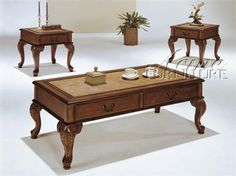 Trudeau Cherry Wood 3Pc Pack Coffee/End Table