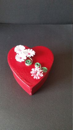 Heart shaped box with flowers by RaesQuilling on Etsy