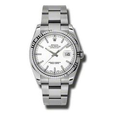 Rolex Datejust White Index Dial 18k White Gold Fluted Bezel Oyster Bracelet Mens Watch 116234WSO