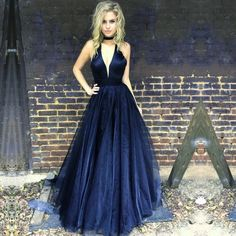 Navy Blue Prom Dress Long Halter Evening Gowns,Fashion