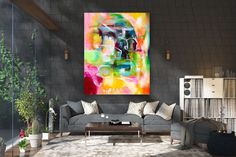 Items similar to Large Modern Wall Art Painting,Large Abstract wall art,painting colorful,xl abstract painting,canvas wall art on Etsy Large Abstract Wall Art, Large Canvas Art, Wall Canvas, Large Painting, Painting Canvas, Knife Painting, Acrylic Canvas, Bright Paintings, Abstract Paintings