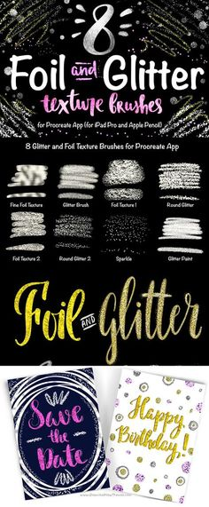 8 Foil & Glitter Brushes The Set of Foil and Glitter Texture Brushes. With these brushes you can create beautiful lettering designs with fine and coarse Foil Textures, different Glitter effects. Use layers and different blend modes to achieve Brushes Free, Beautiful Lettering, Affinity Designer, Clip Art, Ipad Art, Invitation, Photography Logos, Food Photography, School Photography