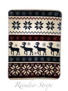 Rollover to zoom  Nordic Reindeer Throw Blanket  Cuddle up next to a warm fire and wrap our Nordic reindeer throw blanket around you for luxurious warm and softness.  On chilly winter nights you'll find a cozy retreat in the high pile softness and authentic details of our Nordic reindeer throw blanket.