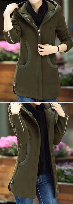 Army Green Zipper Up Long Sleeve Pocket Coat, free shipping and use coupon only $42.85! Code:new9