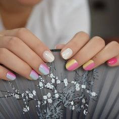 Small Short Children Rainbow Faux Nails – Fake Nail Store Rounded Nails, Nail Store, Nail Length, Nail Set, Nail Tips, Rainbow, Children, Rain Bow, Young Children