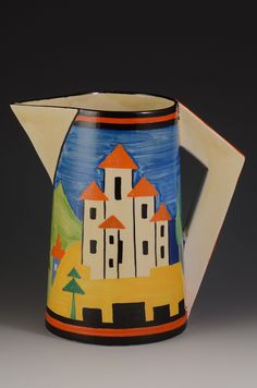 Fantastic large conical in jug in blue lucerne, one of the best images i have ever seen. Great colours and a massive image with the jug showing Pottery Houses, Pottery Art, Clarice Cliff, Clipart Black And White, Art Deco Era, Art Deco Design, Ceramic Artists, Mid Century Design, Vintage China