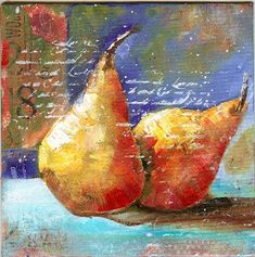 Art du Jour by Martha Lever: Pears and---a yawner. Watercolor Fruit, Fruit Painting, Watercolor Paintings, Acrylic Paintings, Paintings I Love, Fruit Art, Pastel Art, Art Plastique, Acrylic Art