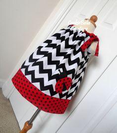 Sweet Ladybug Chevron & Polka Dot Pillowcase Dress ...perfect for a birthday party