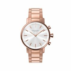 KRONABY Carat Women's Hybrid Smartwatch Watch Watch Ladies a traditional watch with the capabilities of a smartwatch Case Diameter Sapphire Crystal 100 meter water resistant - The Sterling Silver Com Gold Plated Bracelets, Metal Bracelets, Diamond Stores, Rose Gold Watches, Carat Gold, Winter Accessories, Automatic Watch, Modern Jewelry, Stainless Steel Case