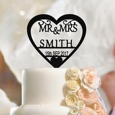 Excited to share the latest addition to my #etsy shop: Personalised Wedding Cake Topper Mr & Mrs, Custom Name Heart, Surname, Date http://etsy.me/2oXxqCX #weddings #decoration #black #caketoppers #fiancefiancee #engagement #cake #toppers #bridegroom