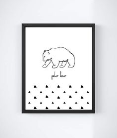 Polar Bear, digital print, kids room decor, illustration, nursery art, arctic, wall art, monochrome, printable, black & white, hand drawn