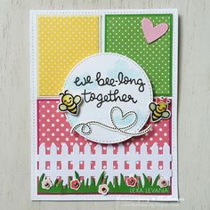 Lawn Fawn - Bug and Kisses + coordinating dies, Hello Baby (flowers), Into the Woods (clouds), Picket Fence Border, Grassy Border, Stitched Circle Stackables, Stitched Rectangle Stackables, Hearts, Let's Polka 6x6 paper _ adorable card by Lexa for Lawnscaping Challenge 104 via Flickr - Photo Sharing!