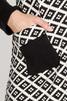 vestido manga larga con motivos geométricos. - MUJER | Rosalita McGee
