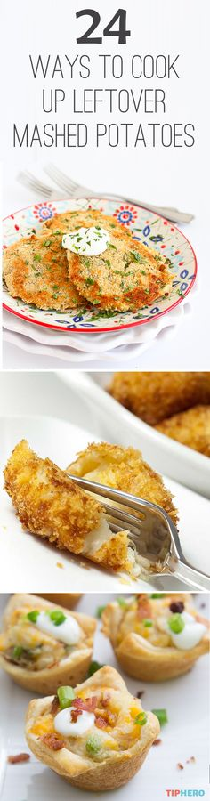 "24 Ways to Cook Up Leftover Mashed Potatoes | There's so much more you can do with leftover mashed potatoes than stick them in the microwave and press start! Try out some mashed potato muffins, waffles, garlic potato balls, twice baked potato casserole, mashed potato rings and more! Click for the full collection of recipes and put some ""wow"" back into your spuds.  #appetizers #recipes #sidedishes"